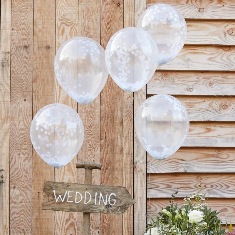 Witte confetti ballonnen 5 stuks