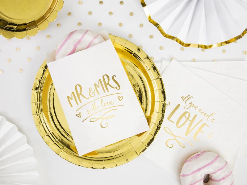 Mr & Mrs - uitdeelzakjes met goudfolie ( 6 stuks)