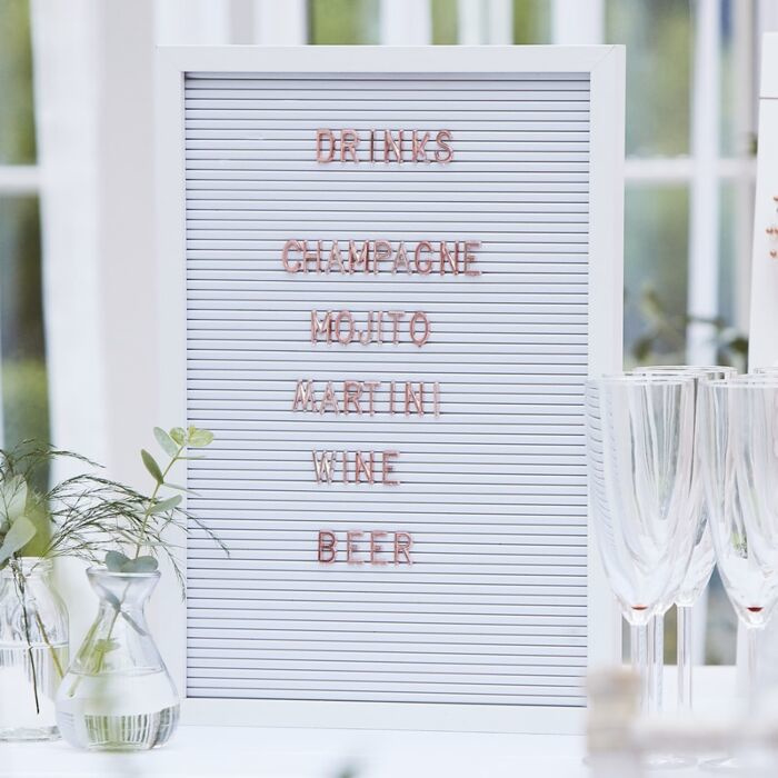 Letterbord wit met  rosé gouden letters - Pegboard groot - Ginger Ray