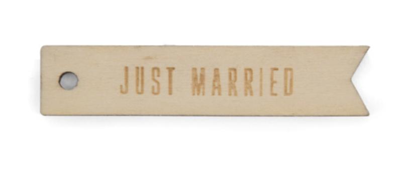 Giftlabels - Just Married - Hout - 10 stuks