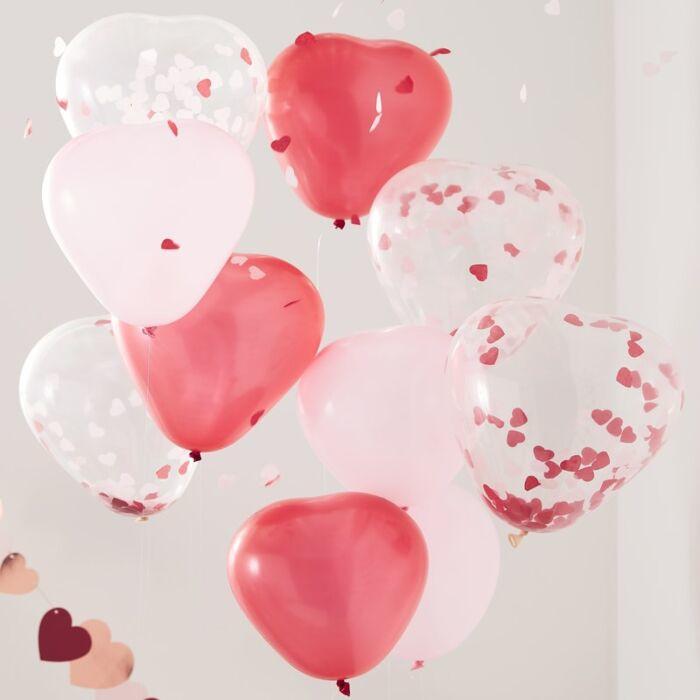 Hart ballonnen - rood roze en confetti - Ginger Ray