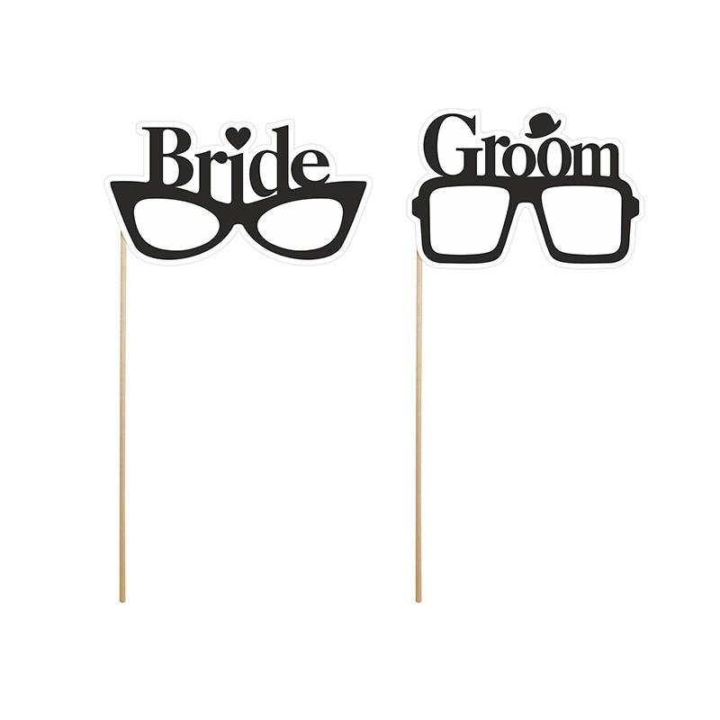 Photobooth Props Brillen Bride en Groom