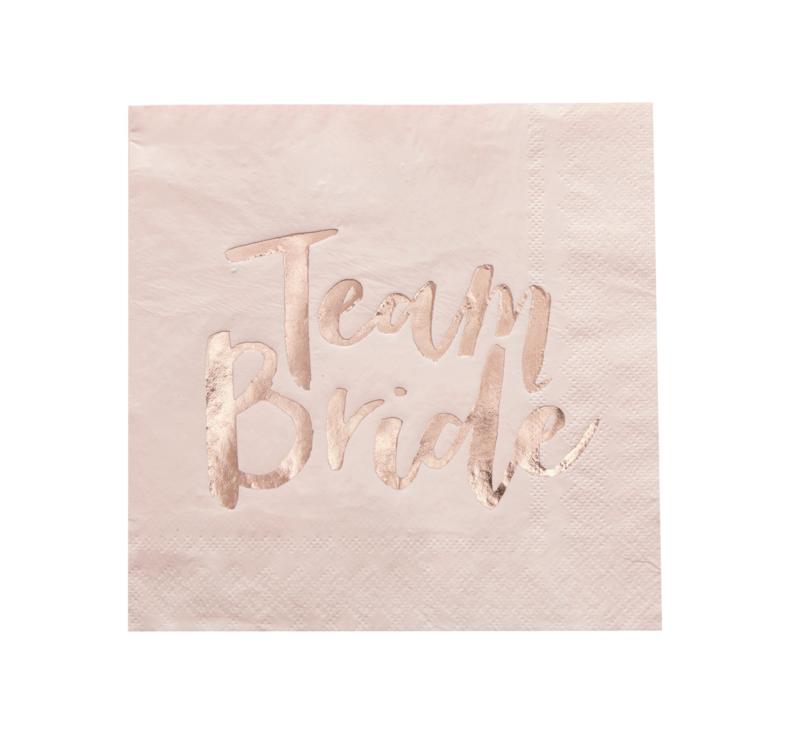 Servetten roze-roségoud (20st) Team Bride Ginger Ray