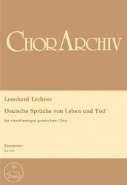 Deutsche Sprüche von Leben und Tod - Lechner | Barenreiter