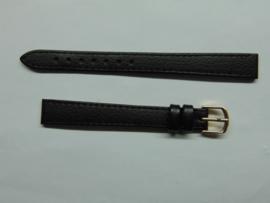 Zwarte leren horlogeband 12 mm. extra lang.