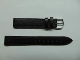 Kalfsleren zwarte horlogeband 16 mm.