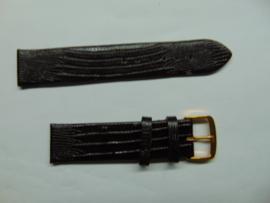 Donkerbruine leren horlogeband 20 mm. met slangenprint
