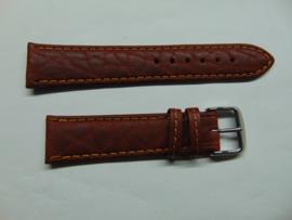 Handgemaakte bruine leren horlogeband 20 mm.