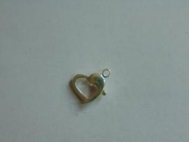 Zilveren karabijnhaak in hartvorm 11 mm.