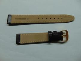 Donkerbruine leren horlogeband 16 mm.