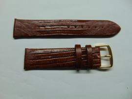 Bruine leren horlogeband 20 mm. met slangenprint