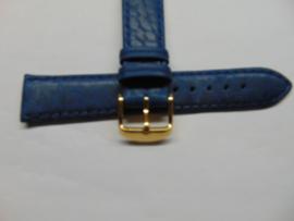 Handgemaakte blauwe leren horlogeband 20 mm.