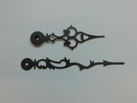 Zwarte alluminium wijzers 12 cm.