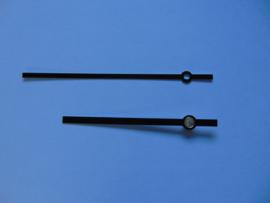 Zwarte alluminium wijzers 10 cm.