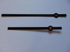 Zwarte alluminium wijzers 13.5 cm.