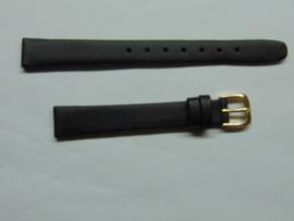 Zwarte leren horlogeband 12 mm.