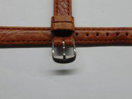 Bruine leren horlogeband 12 mm. extra lang