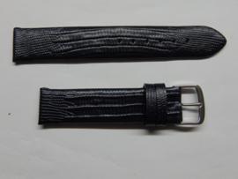 Blauwe leren horlogeband 18 mm. met slangenprint