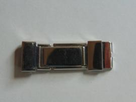 Chroom klemslot met veertje 12 mm.