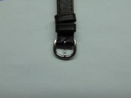 Donkerbruine leren horlogeband 12 mm.