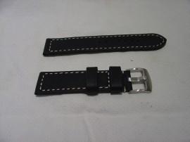 Zwarte zadelleren XXL horlogeband