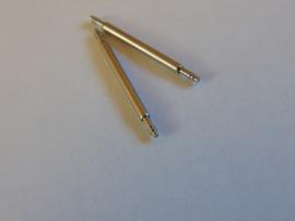 10 Stuks stalen push pins 1.3 mm. dik en 6 t/m 24 mm. lang
