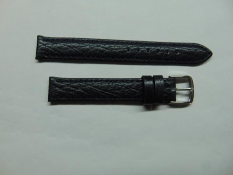 Zwarte leren horlogeband 14 mm.