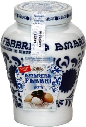 Amarene kersen op stroop in sierpot van 600 gram