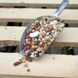Bonenmix: 10-Bean Soupblend met Parelgort / teelt: traditioneel/ Herkomst: diverse landen / met recept / 500gram