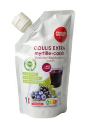 Blauwe bessen & Zwarte bessen Coulis | 85% fruit - 15% suiker | Fruit Rouges &Co  | zak 500ml / t.h.t. 17-06-2022