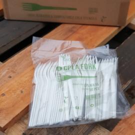 Composteerbare plastic vorkjes /  CPLA vork / zak 50stuks