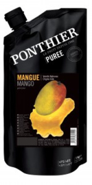 Mango Puree | 95% fruit - 05% suiker | Ponthier | zak 1000ml / t.h.t. 28-10-2021