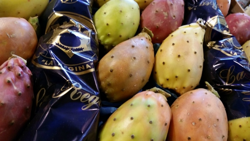 Cactusvijg |  Woestijnvijgen | Prickly pear | Fichi d'India |  Sicilië-Italië | kist 20st.