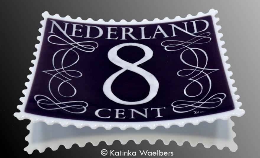 Glazen schaal postzegel Katinka Waelbers Glass Art