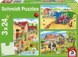 Schmidt Legpuzzel Boerderij  3 puzzels van 24 st.