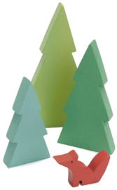 Tender Leaf Toys speelgoed dennenbomen en vos