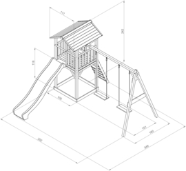 Houten Klimtoren Beach Tower Double Swing