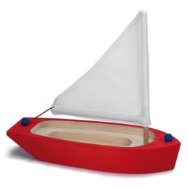 Glückskäfer Zeilboot rood/wit hout 22 cm