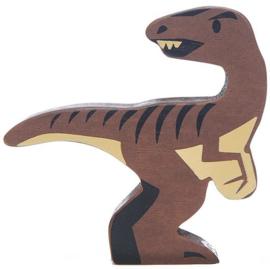 Tender Leaf Toys dinosaurus velociraptor 8 cm hout bruin