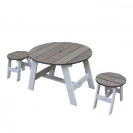 3-delig Picknickset Rond Grijs/wit