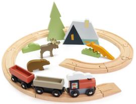 Tender Leaf Toys treinset junior 44 cm hout rood 8-delig