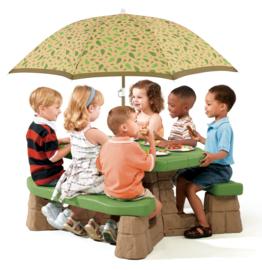 Picknicktafel met parasol (natuurlijk)