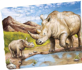 Goki Legpuzzel Afrikaanse Dieren Neushoorn  24-delig