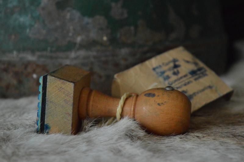 Oude houten stempel