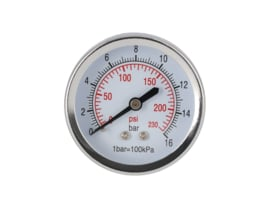 Manometer 1/4'' x 50 mm  0 - 16 bar