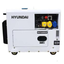 Hyundai 5,3KVA DHY6000SE geluidgedempte verrijdbare Diesel aggregaat 230V