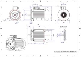OMT1-IE3 280M2 90kW(3000rpm) 400/690V 50Hz IP55 B3/B35/B5/V1