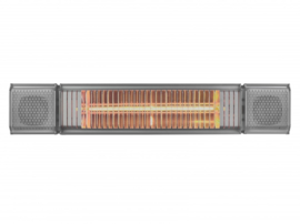 Eurom | Hangende Terrasverwarming | Elektrisch | Heat and Beat Antraciet | 2000W | 20m² | Golden Amber | Afst. & dimmer | +Bluetooth Speakers | 334586