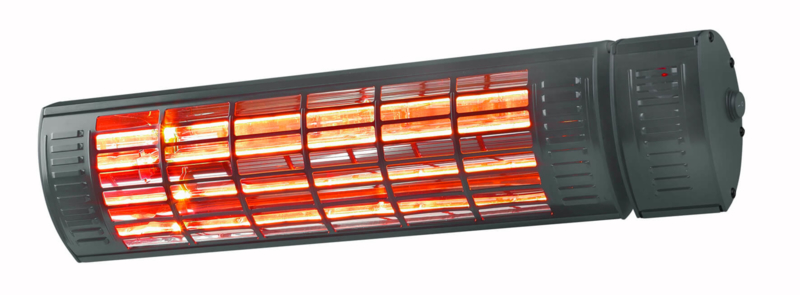 Eurom   Hangende Terrasverwarming   Elektrisch   Golden 2000 Ultra RCD Black   2000W   20m²   Golden Halogeen   Afst. & dimmer   334531