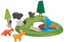 Houten speelset Dieren in het bos
